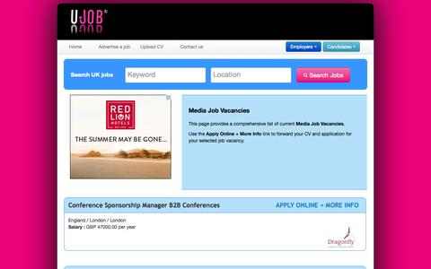 Screenshot of Press Page ujob.co.uk - Media Job Vacancies | UJOB - captured Sept. 19, 2014
