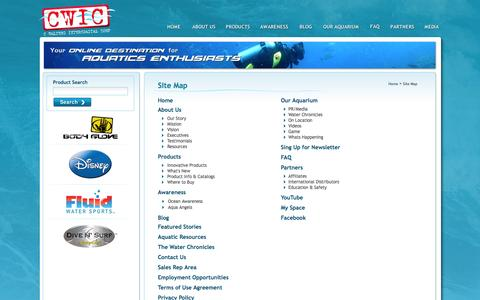 Screenshot of Site Map Page destinationwater.com - Destination Water - captured Oct. 1, 2014