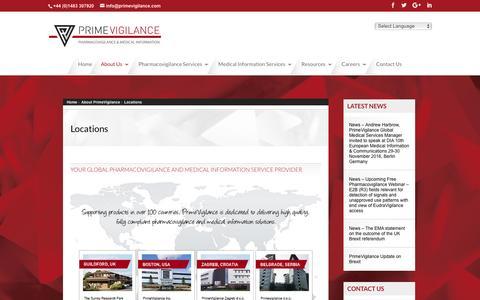Screenshot of Locations Page primevigilance.com - Locations - PrimeVigilance - captured Nov. 11, 2016