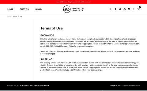 Screenshot of Terms Page whatisblik.com - Terms of Use  – Blik - captured Oct. 9, 2017