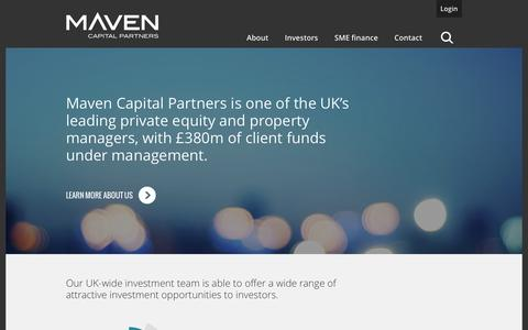 Screenshot of Home Page mavencp.com - Private Equity Managers - Maven Capital Partners - captured Feb. 12, 2016
