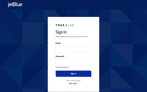 Screenshot of Login Page jetblue.com - Sign In | JetBlue - captured June 3, 2018