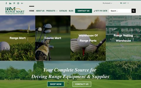 Screenshot of Home Page rangemart.com - Driving Range Supplies | Golf Supplies | Range Mart - captured Sept. 21, 2018