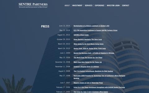 Screenshot of Press Page sentre.com - Press - SENTRE Partners - captured Oct. 3, 2014