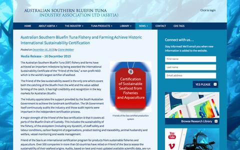 Screenshot of Press Page asbtia.com.au - News - Australian Southern Bluefin Tuna Industry Association LTD (ASBTIA) - captured Feb. 6, 2016