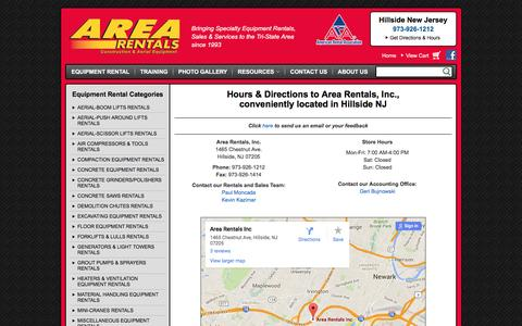 Screenshot of Contact Page Maps & Directions Page arearentalsinc.com - How to contact Area Rentals, Inc. in Hillside NJ | Hours & Directions to Area Rentals, Inc., serving New Jersey, New York & Connecticut - captured April 23, 2016