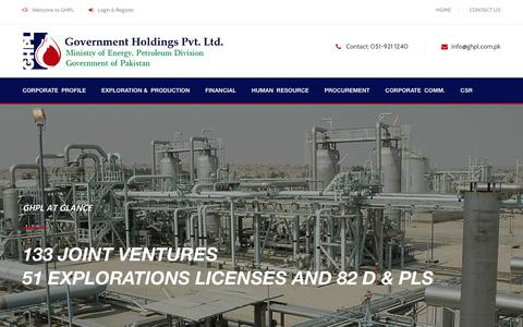 Screenshot of Home Page ghpl.com.pk - Government Holdings (Private) Limited (GHPL) - captured Sept. 25, 2018