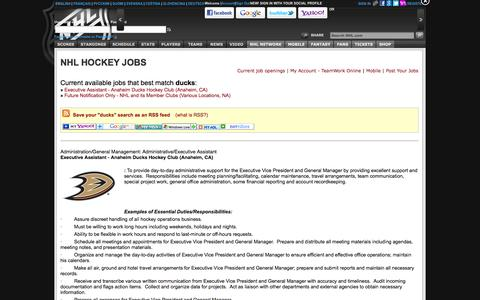 Screenshot of Jobs Page nhl.com - National Hockey League Jobs - captured Sept. 19, 2014