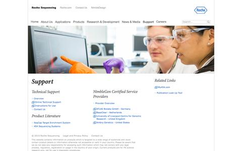 Screenshot of Support Page roche.com - Support - captured Dec. 7, 2016