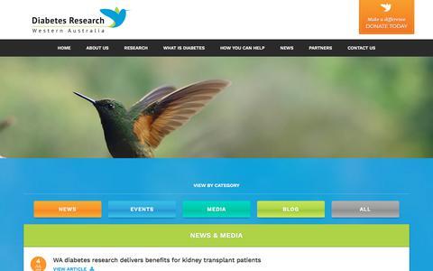 Screenshot of Press Page diabetesresearchwa.com.au - News - Diabetes Research WA - captured July 13, 2018