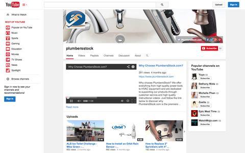 Screenshot of YouTube Page youtube.com - plumbersstock  - YouTube - captured Nov. 1, 2014