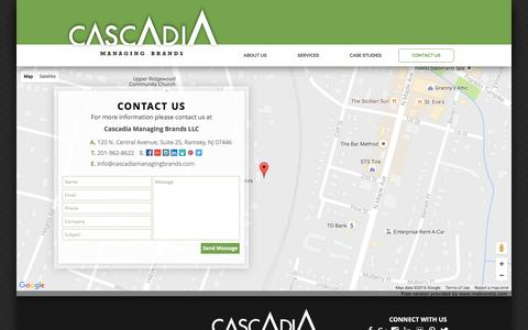 Screenshot of Contact Page cascadiamanagingbrands.com - CASCADIA MANAGING BRANDS | CONTACT US - captured Oct. 26, 2016