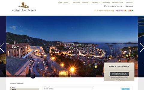 Screenshot of FAQ Page suncanihvar.com - FAQ | Suncani Hvar Hotels - captured Sept. 24, 2018