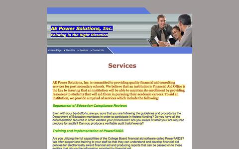 Screenshot of Services Page aepowersolutions.com - AE Power Solutions, Inc - captured Feb. 4, 2016