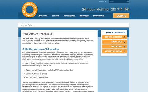Screenshot of Privacy Page avp.org - Privacy Policy - AVP: The Anti-Violence Project - captured Oct. 26, 2014