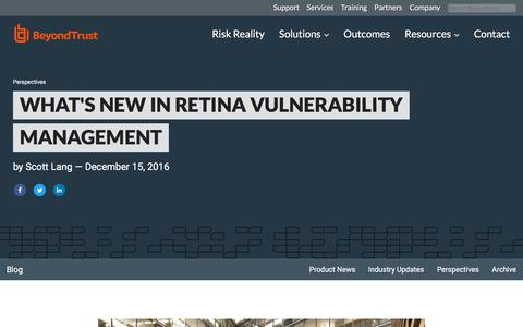 Screenshot of Team Page beyondtrust.com - What's New in Retina Vulnerability Management | BeyondTrust - captured Jan. 3, 2020