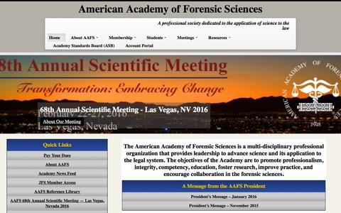 Screenshot of Home Page aafs.org - American Academy of Forensic Sciences   A professional society dedicated to the application of science to the law - captured Jan. 17, 2016