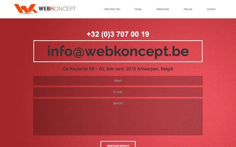 Screenshot of Contact Page webkoncept.be - Contact - WebkonceptWebkoncept - captured Oct. 6, 2014