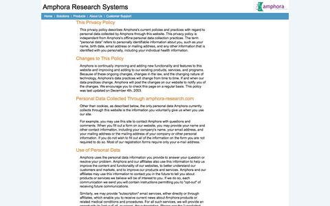 Screenshot of Privacy Page amphora-research.com - Privacy Policy - captured Oct. 4, 2014