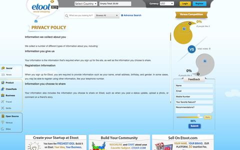 Screenshot of Privacy Page etoot.com - Privacy Policy   Etoot - captured Oct. 27, 2014
