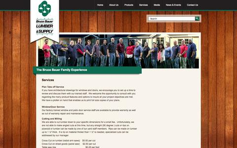 Screenshot of Services Page brucebauer.com - Services | Bruce Bauer Lumber & Supply - captured Oct. 5, 2014