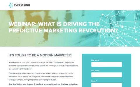 Screenshot of Landing Page everstring.com - Getting Down to the Data: What is Driving the Predictive Marketing Revolution - captured March 14, 2016