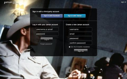Screenshot of Login Page jaman.com - Sign In - Jaman Movie Discovery - captured Dec. 15, 2015