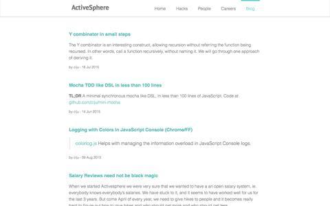 Screenshot of Blog activesphere.com - ActiveSphere blog :: ActiveSphere - Bangalore based Ruby Rails JavaScript consulting - captured Dec. 23, 2015