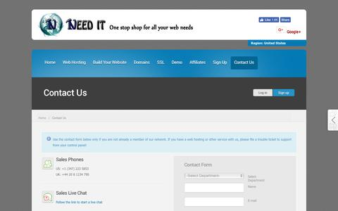 Screenshot of Contact Page needithosting.com - Need It Hosting - captured Oct. 22, 2018