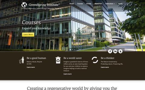 Screenshot of Home Page greenspringinstitute.com - GreenSpring Institute™ - captured Sept. 30, 2014
