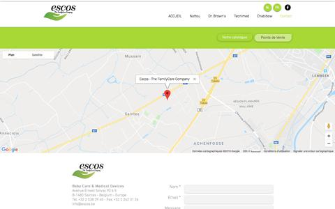 Screenshot of Contact Page escos.be - Escos - The FamilyCare Company - captured July 20, 2018