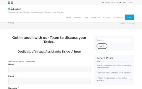 Screenshot of Pricing Page bizassist.biz - $4.99/h- Hire Best virtual assistant services From India - captured Oct. 6, 2018