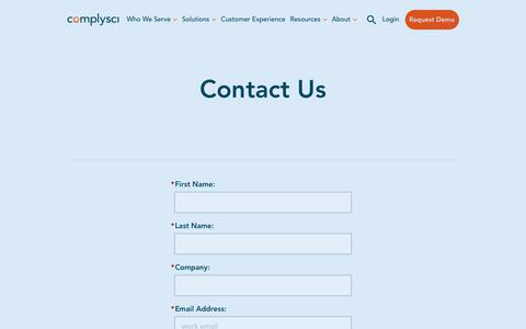 Screenshot of Contact Page complysci.com - Contact Us | ComplySci - captured July 31, 2019