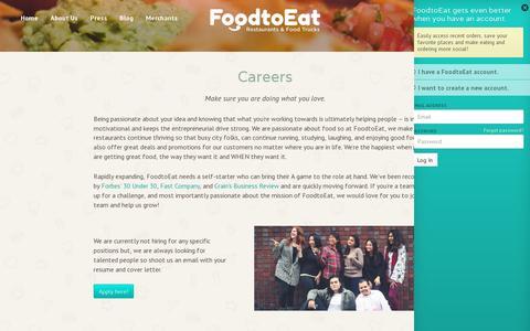 Screenshot of Jobs Page foodtoeat.com - Careers - captured July 19, 2014