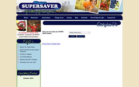 Screenshot of Contact Page niagarasupersaver.com - Super Saver Niagara Falls Canada Attractions - captured Oct. 9, 2014