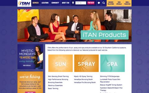 Screenshot of Products Page itan.com - iTAN Products - iTAN Sun Spray Spa - captured Nov. 3, 2014
