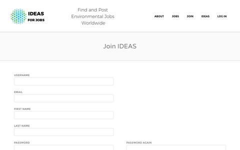 Screenshot of Signup Page ideasforus.org - Join IDEAS | IDEAS For Jobs - captured Jan. 5, 2017