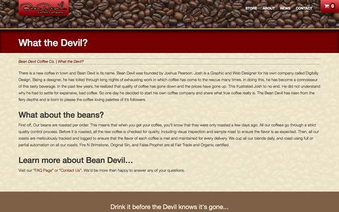 Screenshot of About Page beandevil.com - What the Devil? | Bean Devil Coffee Co. - captured Oct. 5, 2014