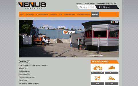 Screenshot of Contact Page venuscontainers.nl - Contact | Venus Containers - captured Oct. 28, 2014