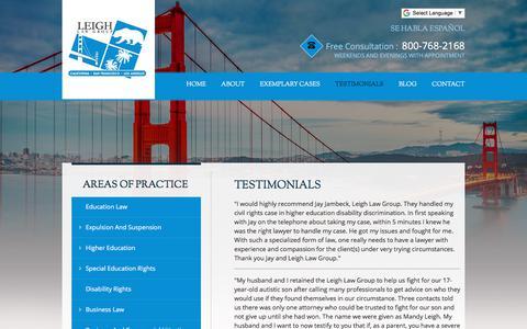 Screenshot of Testimonials Page leighlawgroup.com - Testimonials | Leigh Law Group | San Francisco, California - captured July 18, 2018
