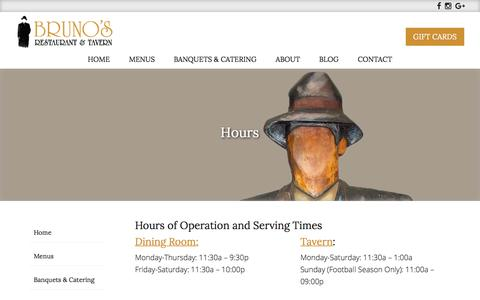 Screenshot of Hours Page brunosportland.com - Hours for Bruno's Restaurant & Tavern - captured April 25, 2017