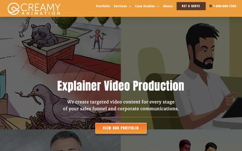 Screenshot of Home Page creamyanimation.com - Explainer Video Production Company | Vancouver Animation Studio | CA - captured July 23, 2018