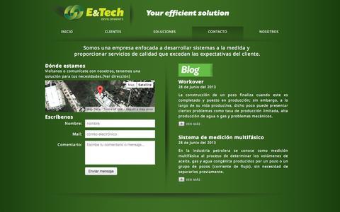 Screenshot of Contact Page etechmx.com - E&Tech Developments - captured Oct. 5, 2014