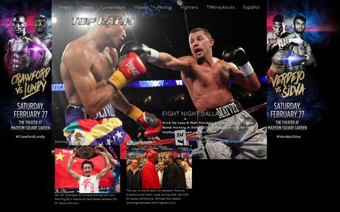 Screenshot of Home Page toprank.com - Top Rank Boxing - captured Jan. 16, 2016