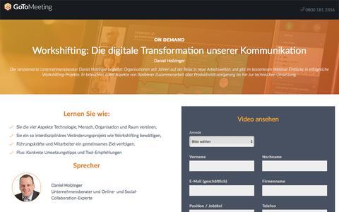 Screenshot of Landing Page gotomeeting.com - Workshifting: Die digitale Transformation unserer Kommunikation - captured April 14, 2018