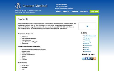 Screenshot of Products Page contactmed.net - Products | Contact Medical - captured Jan. 31, 2016