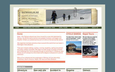 Screenshot of Home Page outdoor.co.nz - Outdoor trips - Bike Samoa » Outdoor - captured Oct. 6, 2014