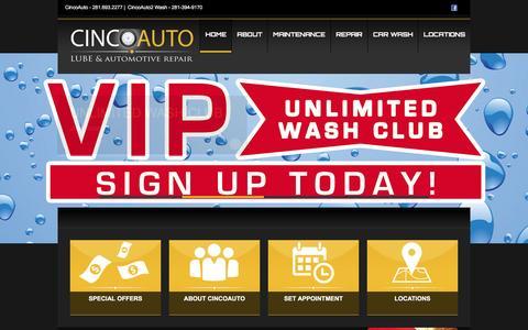 Screenshot of Home Page cincoauto.com - CincoAuto | Katy & Cinco Ranch TX | - captured Dec. 9, 2015