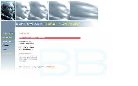 Screenshot of Contact Page bertbakker.nl - BERT BAKKER | CONTACT - captured Oct. 4, 2014