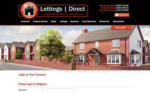 Screenshot of Login Page lettings-direct.com - Home | Lettings Direct - Lettings | Property Management | Residential Sales - captured Oct. 28, 2014